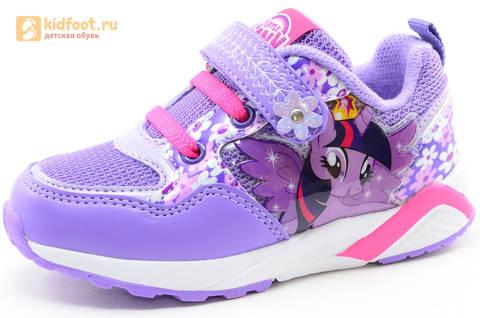 Светящиеся кроссовки для девочек Пони (My Little Pony) на липучках, цвет сиреневый, мигает картинка сбоку, 5868A. Изображение 1 из 15.