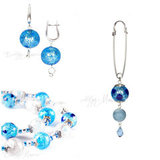 Серьги, ожерелье, брошь (комплект украшений Bella голубой)