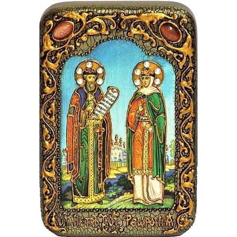 Инкрустированная Икона Петр и Феврония 15х10см на натуральном дереве, в подарочной коробке