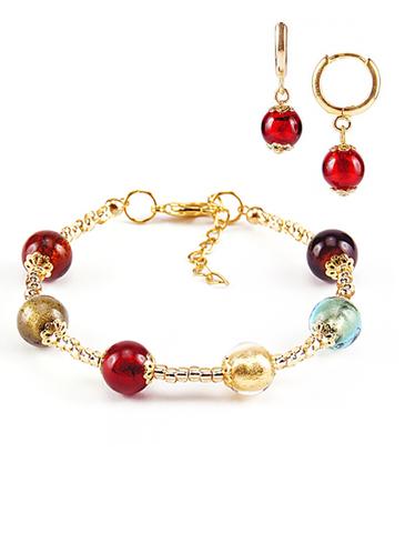 Комплект Carnavale Oro (браслет и серьги Piccolo красные)
