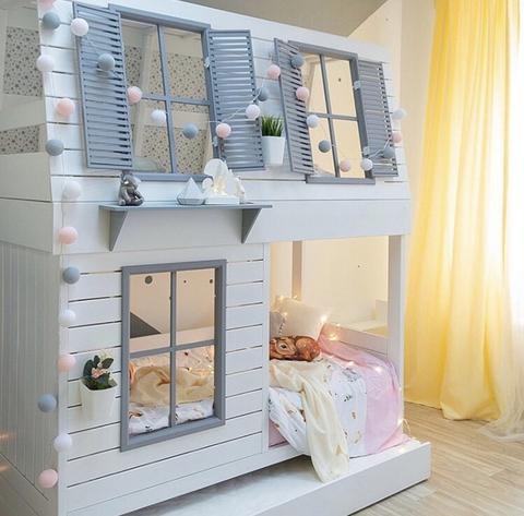Двухъярусная кроватка-домик для девочки