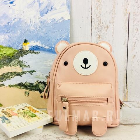 Детский маленький рюкзак для девочки Котик с ушками Персик