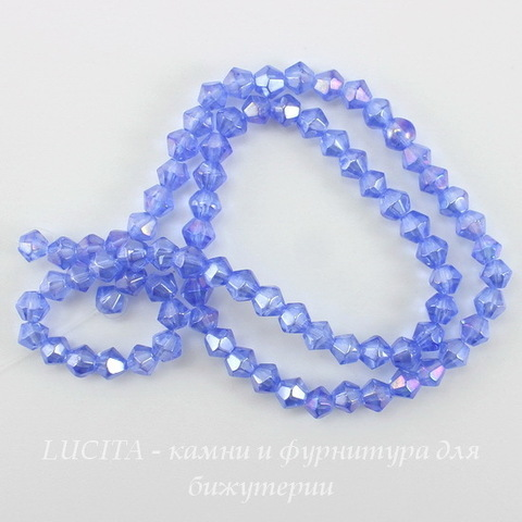 Бусина стеклянная, биконус, цвет - светло-синий с АВ покрытием, 4 мм, нить