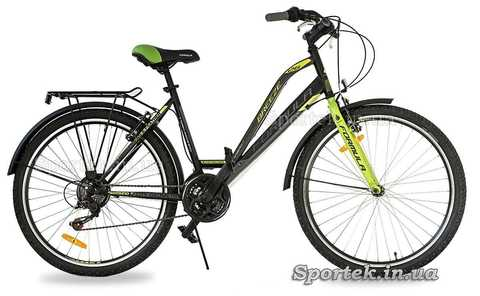 Черно-салатовый женский городской велосипед Formula Breeze 2016 с колесами 26 дюймов