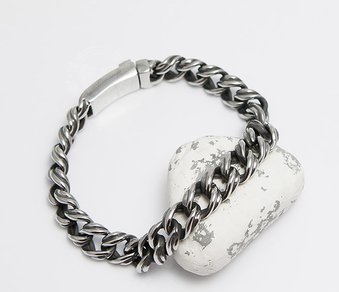 Красивый мужской браслет цепь с необычными звеньями (23 см)