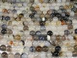 Нить бусин из агата мохового, шар гладкий 8мм