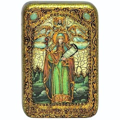 Инкрустированная рукописная икона Святая мученица Параскева Пятница 15х10см на натуральном дереве в подарочной коробке