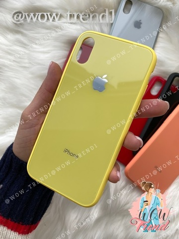 Чехол iPhone XS MAX Glass Pastel color Logo /yellow/