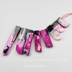Бусина Агат, продолговатая, цвет - фиолетовый, 25-60 мм, нить