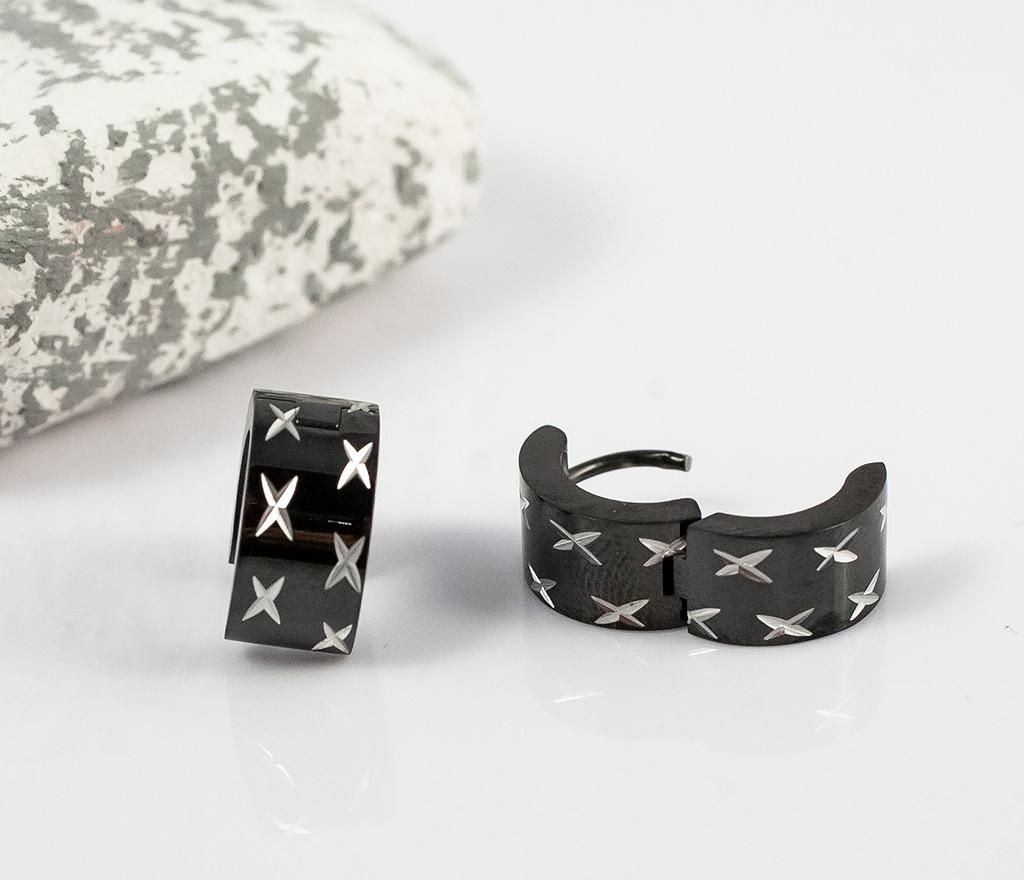 SE2123 Широкие черные мужские серьги с гравировкой фото 02