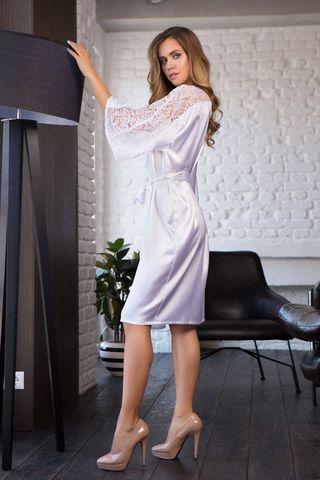 Халат домашний женский средней длины из однотонного сатина фото