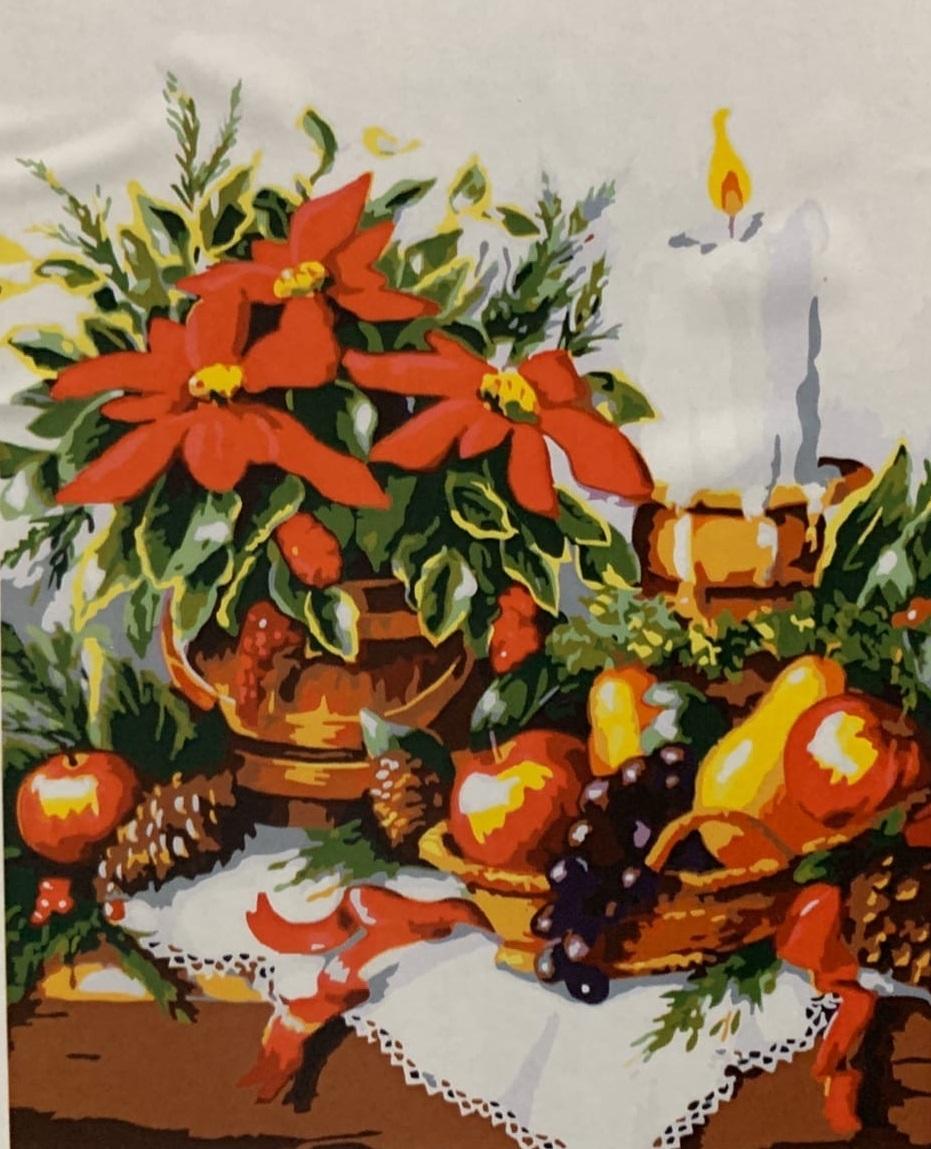 Картина раскраска по номерам 40x50 Цветы, фрукты и свеча ...