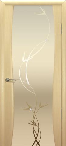 Дверь Океан Гламур Буревестник-2, стекло белое с рисунком, цвет беленый дуб, остекленная
