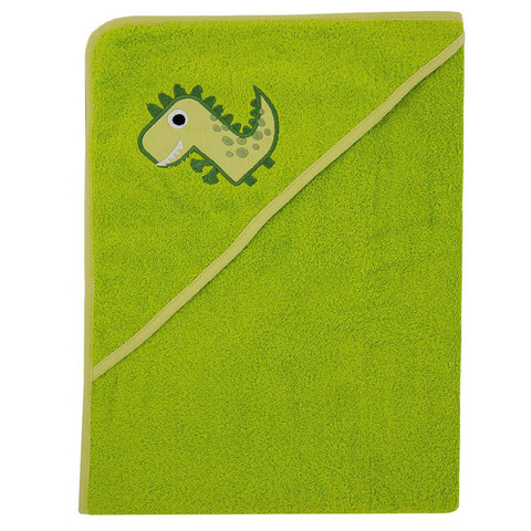 Полотенце с капюшоном, 100x100 cm, green dino
