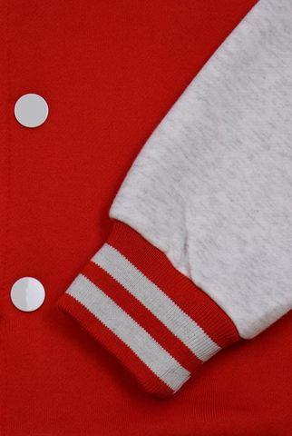 Бомбер красный с серым фото манжеты