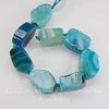 """Бусина Агат """"Крэкл"""" (тониров), цвет - голубой, 20-26 мм, нить"""