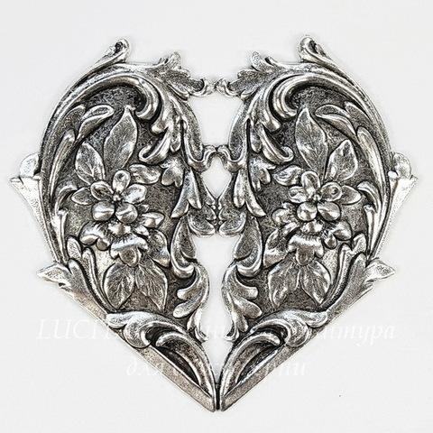 """Винтажный декоративный элемент - штамп """"Сердце с цветами"""" 65х60 мм (оксид серебра) (темные)"""