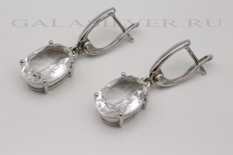Серьги с горным хрусталем из серебра 925