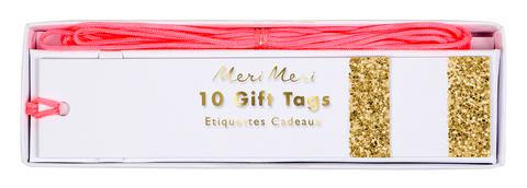 Тэги для подарков с золотыми блестками
