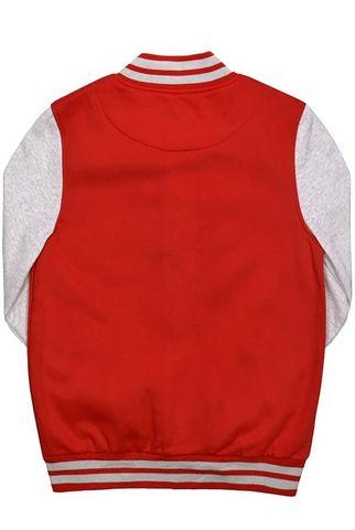 Бомбер красный с серым фото спина