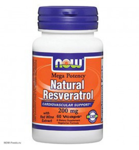 NOW Natural Resveratrol / Ресвератрол  200 мг. 60 вег. капс.