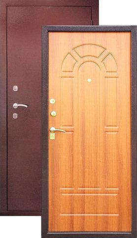 Дверь входная Н-2 стальная, миланский орех, 2 замка, фабрика Арсенал