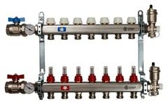 Коллектор Stout на 7 контуров с расходомерами для тёплого пола из нержавеющей стали в сборе SMS-0907-000007