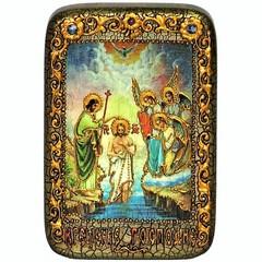 Инкрустированная Икона Крещение Господа Бога и Спаса нашего Иисуса Христа 15х10см на натуральном дереве, в подарочной коробке