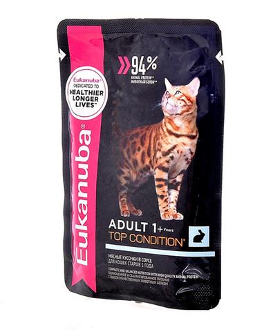 Eukanuba Cat пауч для взрослых кошек (с кроликом в соусе) 85 г