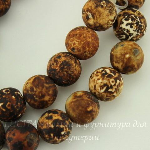 """Бусина Агат """"Леопард"""" (тониров, не шлифован), шарик, 10 мм, нить"""
