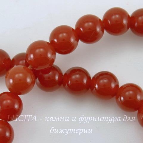 Бусина Агат (категория A), шарик, цвет - коричневый, 6 мм, нить
