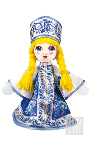 Фото Кукла с гжельский росписью - 25 см рисунок Мастерская Ангел в Санкт-Петербурге и Москве осуществляет изготовление и продажу сувенирной продукции оптом по выгодным ценам.
