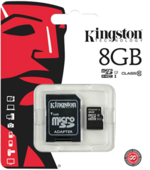Карта памяти Kingston MicroSD (Class 10) 8gb + адаптер