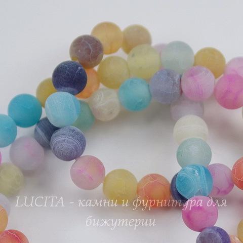 Бусина Агат цветочный матовый (тониров), шарик, цвет - микс, 6 мм, нить
