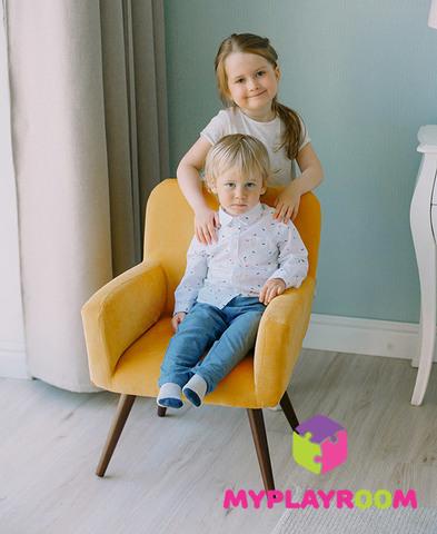 Детское стильное кресло в стиле 60-х, медовый 2