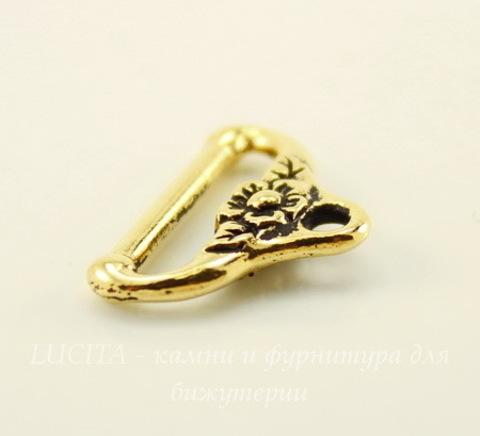 """Концевик для плоского шнура TierraCast """"Цветочный"""" (цвет-античное золото) 19х13 мм"""