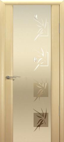 Дверь Океан Гламур Шторм-3, стекло белое с рисунком, цвет беленый дуб, остекленная