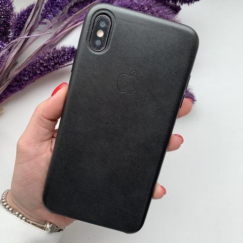 Чехол iPhone XS Max Leather Case /black/