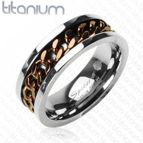 Стильное необычное мужское кольцо из лёгкого и прочного титана с крутящейся серединкой из цепочки медного цвета SPIKES R-TI-0153B