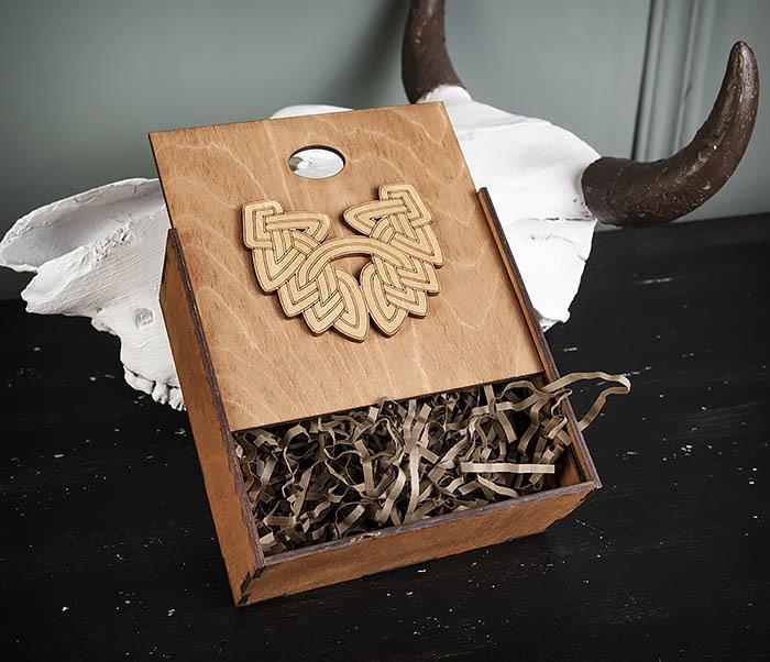 BOX218-2 Фирменная подарочная коробка коричневого цвета (17*17*7 см) фото 04