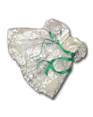Платье рождественское - Серебро / зеленый. Одежда для кукол, пупсов и мягких игрушек.