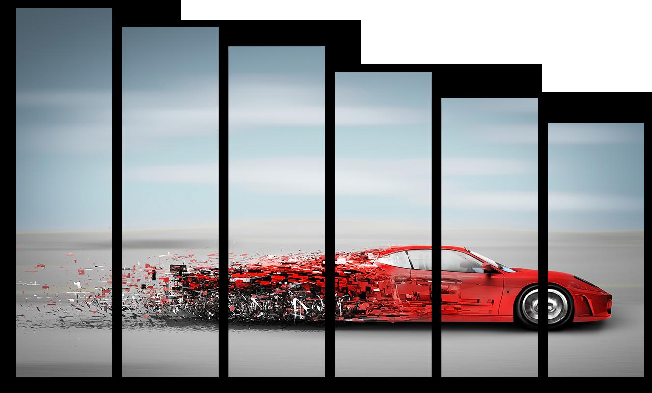 """Модульные картины Модульная картина """"Красный Автомобиль"""" М2944.png"""