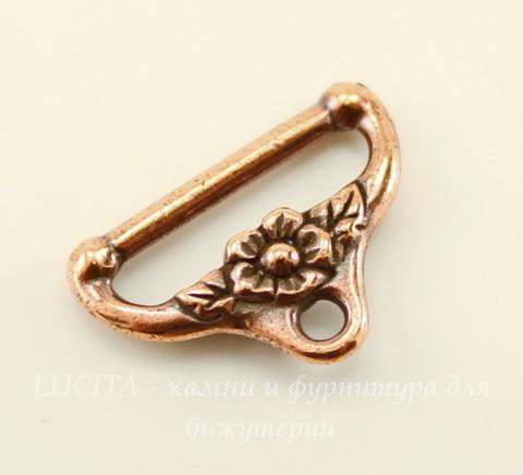 """Концевик для плоского шнура TierraCast """"Цветочный"""" (цвет-античная медь) 19х13 мм"""