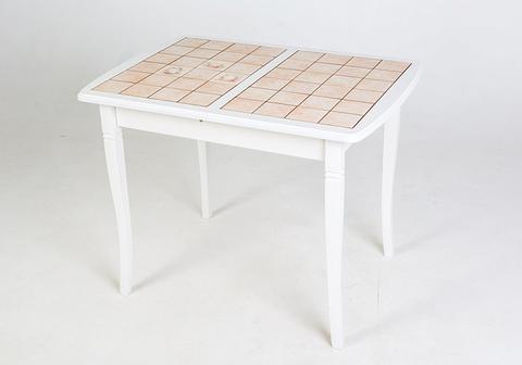 Стол обеденный Домино-2  раскладной с плиткой слоновая кость