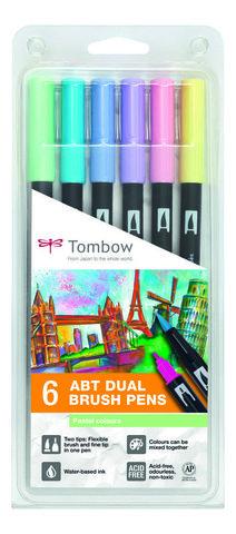 Набор маркеров Tombow ABT Dual brush pens, пастельные тона, 6 цветов.