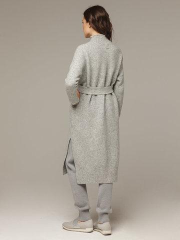 Женский серый кардиган на поясе с карманами - фото 3