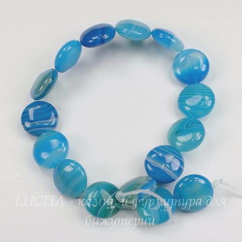 Бусина Агат (тониров), круглая плоская, цвет - голубой с полосками, 12х5 мм, нить
