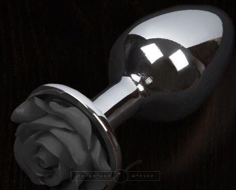 Серая анальная пробка с черной розочкой - 8,5 см.