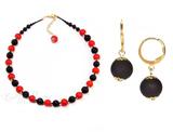 Комплект Domino Perla Matt красный с черными серьгами
