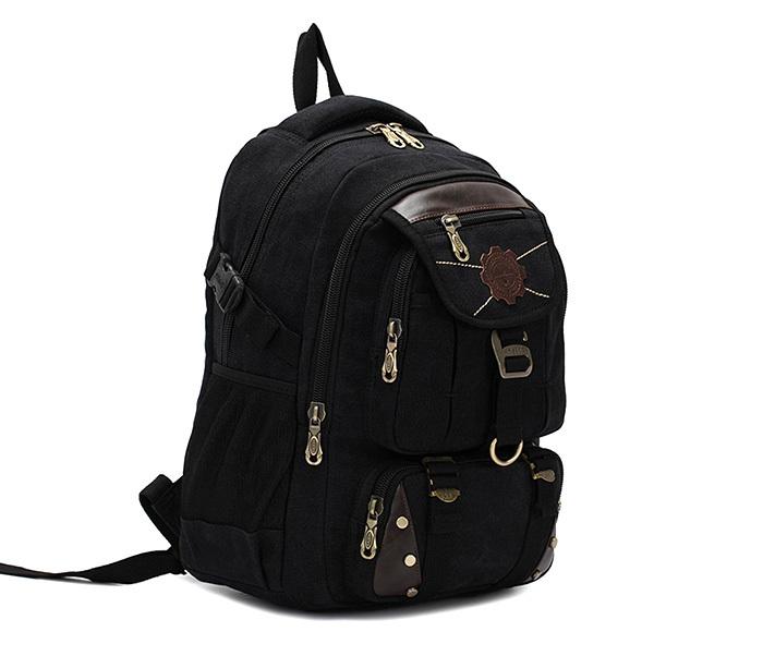 BAG388-1 Мужской повседневный рюкзак черного цвета из прочной ткани фото 01
